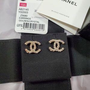 Brand new Chanel crystal cc light gold earrings